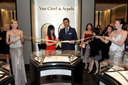 Nancy Bai, Boutique Manager and Alain Bernard, President and CEO of The Americas for Van Cleef & Arpels (C) attend the celebration of Van Cleef & Arpels newly re-designed South Coast Plaza Boutique at Van Cleef & Arpels on February 6, 2014 in Orange County, California.