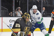 Marc-Andre Fleury #29 of the Vegas Golden Knights makes a stick save in front of Bo Horvat #53 of the Vancouver Canucks in the first period of their game at T-Mobile Arena on October 24, 2018 in Las Vegas, Nevada.