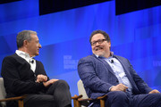 (L-R) Bob Iger, Chairman and CEO of The Walt Disney Company and actor/director Jon Favreau speak onstage during 'Lights, Camera, Tech: Storytelling in the Digital Age' at Vanity Fair's 6th Annual New Establishment Summit at Wallis Annenberg Center for the Performing Arts on October 22, 2019 in Beverly Hills, California.