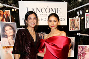 (L-R) Vanity Fair Editor-in-Chief Radhika Jones and Zendaya attend Vanity Fair and Lancôme Toast Women In Hollywood on February 21, 2019 in West Hollywood, California.