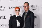 Sandy Powell and Christopher Peterson attend the Vanity Fair and Lancôme Women in Hollywood celebration at Soho House on February 06, 2020 in West Hollywood, California.