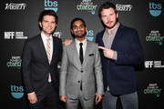 (L-R) Actor Adam Scott, honoree Aziz Ansari, and actor Chris Pratt attend Variety's 5th annual Power of Comedy presented by TBS benefiting the Noreen Fraser Foundation at The Belasco Theater on December 11, 2014 in Los Angeles, California.