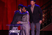 (L-R) Actor Adam Scott, honoree Aziz Ansari and actor Chris Pratt speak onstage at Variety's 5th annual Power of Comedy presented by TBS benefiting the Noreen Fraser Foundation at The Belasco Theater on December 11, 2014 in Los Angeles, California.