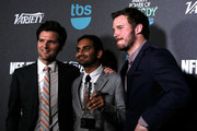 (L-R) Actor Adam Scott, honoree Aziz Ansari and actor Chris Pratt attend Variety's 5th annual Power of Comedy presented by TBS benefiting the Noreen Fraser Foundation at The Belasco Theater on December 11, 2014 in Los Angeles, California.