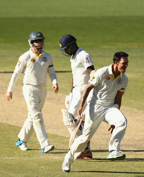 Australia v India - 1st Test: Day 5 [cricketer,test cricket,cricket,sports,sports equipment,team sport,ball game,bat-and-ball games,first-class cricket,player,mitchell johnson,varun aaron,wicket,australia,india,adelaide oval,test,test match]