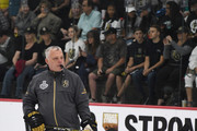 Assistant coach Mike Kelly of the Vegas Golden Knights skates during the team's first practice since winning the Western Conference Finals at City National Arena on May 23, 2018 in Las Vegas, Nevada. The Golden Knights will play for the Stanley Cup beginning on May 28 against either the Washington Capitals or the Tampa Bay Lightning.