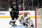 Adrian Kempe #9 of the Los Angeles Kings screens Marc-Andre Fleury #29 of the Vegas Golden Knights during the second period in Game Three of the Western Conference First Round during the 2018 NHL Stanley Cup Playoffs  at Staples Center on April 15, 2018 in Los Angeles, California.