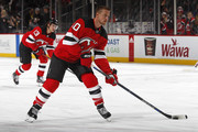 Michael Grabner #40 of the New Jersey Devils during warm ups prior to taking on the Vegas Golden Knights at the Prudential Center on March 4, 2018 in Newark, New Jersey.
