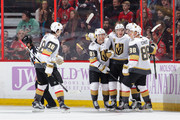 Erik Haula #56 of the Vegas Golden Knights celebrates his second period goal against the Ottawa Senators with teammates James Neal #18, Jonathan Marchessault #81 and Nate Schmidt #88 at Canadian Tire Centre on November 4, 2017 in Ottawa, Ontario, Canada.