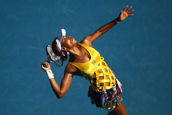 Venus Williams Venus Williams of the United States of America serves in her second round match against Sandra Zahlavova of the Czech Republic during day three of the 2011 Australian Open at Melbourne Park on January 19, 2011 in Melbourne, Australia.
