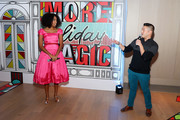 Jessica Williams (L) and Verizon's Up To Speed Correspondant Andy Choi attend Verizon's More Holiday Magic Event at Manhatta on December 05, 2019 in New York City.
