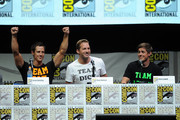 """(L-R) Actors Jason Dohring, Ryan Hansen and Chris Lowell speak onstage at the """"Veronica Mars"""" special video presentation and Q&A during Comic-Con International 2013 at San Diego Convention Center on July 19, 2013 in San Diego, California."""