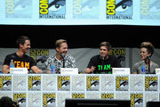 """(L-R) Actors Jason Dohring, Ryan Hanson, Chris Lowell and actress Tina Majorino speak onstage at the """"Veronica Mars"""" special video presentation and Q&A during Comic-Con International 2013 at San Diego Convention Center on July 19, 2013 in San Diego, California."""
