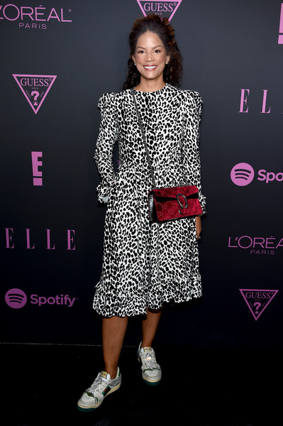 Nina Garcia, Jameela Jamil, And E! Entertainment Host ELLE, Women In Music Presented By Spotify - Arrivals [clothing,fashion,fashion model,hairstyle,pink,footwear,premiere,dress,carpet,flooring,spotify,nina garcia,jameela jamil,women in music,arrivals,veronica webb,host elle,new york city,e entertainment,elle]