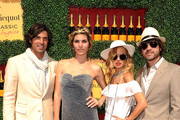 (L-R) Host Nacho Figueras, Delfina Blaquier, stylist Rachel Zoe and Rodger Berman arrive at the Veuve Clicquot Polo Classic Los Angeles at Will Rogers State Historic Park on October 9, 2011 in Los Angeles, California.