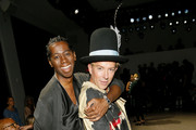 Miss J. Alexander and Derek Warburton attend the Victoria Hayes front row during New York Fashion Week: The Shows at Gallery II at Spring Studios on September 04, 2019 in New York City.