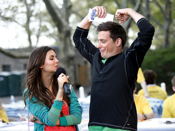 Victoria Justice Nickelodeon's Victoria Justice (L) and Jeff Sutphen interact during Nickelodeon's Annual Worldwide Day of Play at NYC Big Brothers Big Sisters RBC Race for the Kids Event in Riverside Park on September 25, 2010 in New York City.