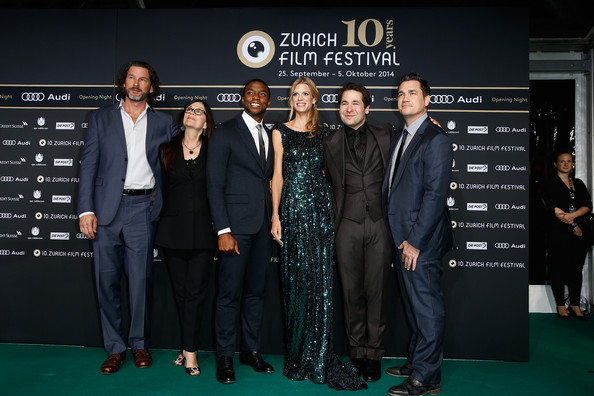 'Get on Up' Premieres in Zurich [chadwick boseman,producers,karl spoerri,nadja schildknecht,victoria pearman,john norris,tate taylor,l-r,premiere,event,carpet,red carpet,suit,brand,flooring,white-collar worker,get on up opening film - zurich film festival,get on up opening film and opening ceremony]