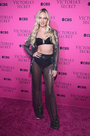 Candice Swanepoel was nearly naked in a sheer, sequined pajama suit by Mach & Mach at the 2017 Victoria's Secret fashion show viewing party.
