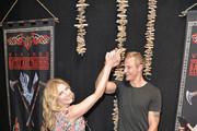 Katheryn Winnick and Alexander Ludwig attend Vikings Battle Axe Training at San Diego Comic-Con 2019 on July 20, 2019 in San Diego, California.