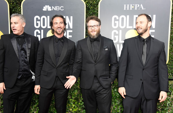 75th Annual Golden Globe Awards - Arrivals [premiere,event,suit,team,arrivals,vince jolivette,evan goldberg,seth rogen,actor,james weaver,l-r,the beverly hilton hotel,golden globe awards,annual golden globe awards]