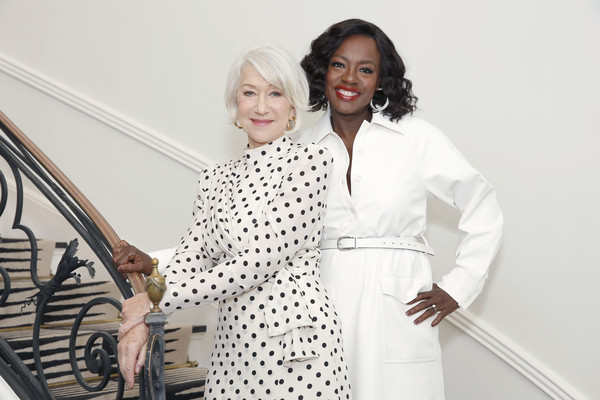 Entertainment  Pictures of the Month - March 2020 [entertainment pictures of the month,white,fashion,design,outerwear,black-and-white,dress,polka dot,pattern,fashion design,trench coat,viola davis,helen mirren,l-r,tmor\u00e3,l\u00e2,paris,california,beverly hills,launch,robe,polka dot,polka,coat,socialite,haute couture]