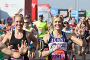 Sophie Raworth and Jenni Falconer participate in The Virgin London Marathon on April 22, 2018 in London, England.