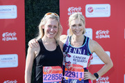 Sophie Raworth and Jenni Falconer pose for a photo ahead of participating in The Virgin London Marathon on April 22, 2018 in London, England.