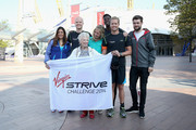 (L-R) Marion Bartoli, Noah Devereux, Eve Branson, Holly Branson, Jermain Jackman, Sam Branson, Jack Whitehall and Princess Beatrice of York attend a photocall as the Virgin STRIVE challenge sets off at 02 Arena on August 7, 2014 in London, England.