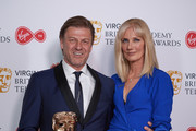 Sean Bean winner of the Leading Actor award for 'Broken' and Joely Richardson pose in the press room at  the Virgin TV British Academy Television Awards at The Royal Festival Hall on May 13, 2018 in London, England.