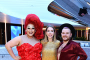 Katherine Ryan  attends a drinks reception on board Virgin Voyages' new cruise ship 'Scarlet Lady' on February 25, 2020 in Liverpool, England.
