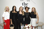 SVP of North America Marketing at Visa, Mary Ann Reilly, Founder & Creative Director of Brother Veillies, Aurora James, IMG model, Founder, Tropic of C, Candace Swanepoel, SVP Credit Card Products Management, Wells Fargo, Heather Philp and Co- Founder and CEO of Jetblack, Jenny Fleiss pose during The Talks: Earned It at IMG NYFW: The Shows 2018  at Spring Studios on September 7, 2018 in New York City.