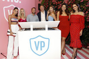 (L-R) Olivia Culpo, Shea Marie, DJ Brendan Fallis, Kurt Seidensticker, Niamh Adkins, Bella Golden, and Louise Roe attend the Vital Proteins Launches Feed Your Beauty Popup Store in Soho NYC on September 5, 2018 in New York City.