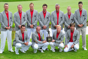 (Back left to right) Mark Foster, Jamie Donaldson, Ian Poulter, Scott Jamieson, Darren Clarke, David Horsey and Ross Fisher. (Front row left to right) Lee Westwood, captain Paul McGinley, Simon Dyson and Robert Rock. The winning team of Great Britian and Ireland with the Vivendi Seve Trophyafter winning the final day's singles matches at the Vivendi Seve Trophy at Saint - Nom - La Breteche Golf Course on September 18, 2011 in Paris, France.