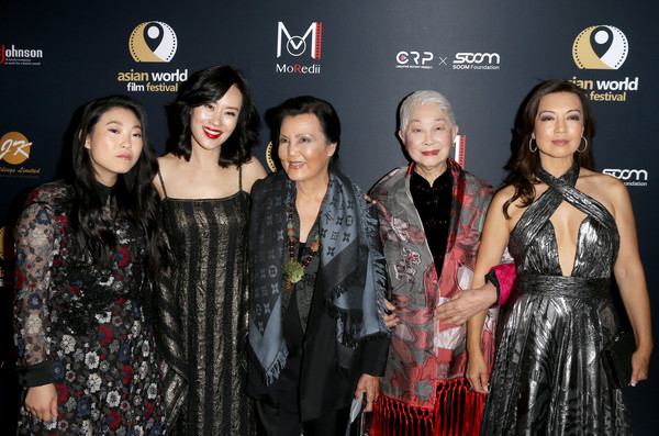 4th Annual Asian World Film Festival - Closing Night Screening Of 'In Harm's Way' - Arrivals [in harms way,event,premiere,fashion,fashion design,carpet,red carpet,flooring,fashion model,lisa lu,ming-na wen,kieu chinh,awkwafina,vivian wu,l-r,arclight culver city,california,4th annual asian world film festival - closing night screening]