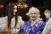 Image contains nudity.) US model Bella Hadid model and British designer Vivienne Westwood pose at the end the Vivienne Westwood show as part of the Paris Fashion Week Womenswear Fall/Winter 2020/2021 on February 29, 2020 in Paris, France.