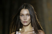 (EDITORIAL USE ONLY) US model Bella Hadid model walks the runway during the Vivienne Westwood show as part of the Paris Fashion Week Womenswear Fall/Winter 2020/2021 on February 29, 2020 in Paris, France.