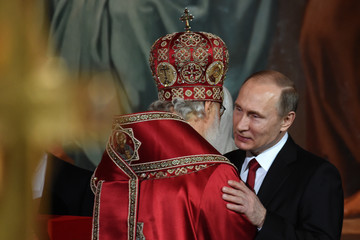 Vladimir Putin Russian President Vladimir Putin Attends the Orthodox Easter Service in Moscow