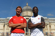 Ex Arsenal Legend Tony Adams with Ex Tottenham Hotspur Legend Ledley King pose for the camera during the Vodafone 4G Goes Live Launch at Trafalgar Sq on August 29, 2013 in London, England. Vodafone Kicks off 4G network in London with a Choice of Sky Sports TV or Spotify Premium, before launching in 12 cities before the end of the year.