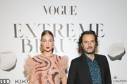 Eva Riccobono and Matteo Ceccarini attend the Vogue Italia Cocktail Party during the Milan Fashion Week Spring/Summer 2020 on September 20, 2019 in Milan, Italy.