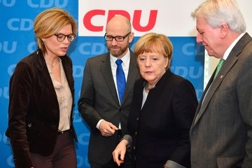 Volker Bouffier Germany's Chancellor Angela Merkel Attends Christian Democratic Union Meeting After Announcing Intention To Run For Fourth Term