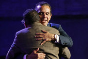 Former Los Angeles Mayor Antonio Villaraigosa (R) hugs a supporter at an election night party during his run for governor on June 5, 2018 in Los Angeles, California. California voters are casting ballots in important primaries across the state.