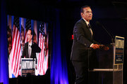 Former Los Angeles Mayor Antonio Villaraigosa (R) speaks at an election night party during his run for governor on June 5, 2018 in Los Angeles, California. California voters are casting ballots in important primaries across the state.