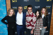(L-R) Actors Catherine O'Hara, Eugene Levy, Dan Levy, Emily Hampshire and Annie Murphy attend the 'Schitt's Creek' panel, part of Vulture Festival LA presented by AT&T at Hollywood Roosevelt Hotel on November 19, 2017 in Hollywood, California.