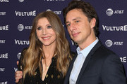 Actors Sarah Chalke (L) and Zach Braff (R) attend the 2018 Vulture Festival Los Angeles at The Hollywood Roosevelt Hotel on November 17, 2018 in Los Angeles, California.