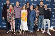 (L-R) Chris McKenna, Gillian Jacobs, Dan Harmon, Alison Brie, Danny Pudi, Ken Jeong, Yvette Nicole Brown, Joel McHale, and Jim Rash arrive at the Vulture Festival Los Angeles 2019 Day 2 at Hollywood Roosevelt Hotel on November 10, 2019 in Hollywood, California.