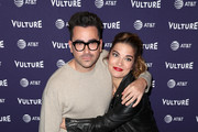 Dan Levy (L) and Annie Murphy attend the Vulture Festival presented by AT&T at Hollywood Roosevelt Hotel on November 17, 2018 in Hollywood, California.