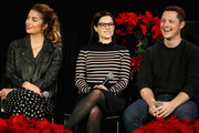 (L-R) Annie Murphy, Emily Hampshire and Noah Reid speak onstage during the 'Schitt's Creek Holiday Spectacular!' during Vulture Festival presented by AT&T at Hollywood Roosevelt Hotel on November 17, 2018 in Hollywood, California.