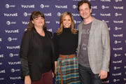 (L-R) Joey Slamon, Andrea Savage and Tom Everett Scott attend 'truTV Presents I'm Sorry' during Vulture Festival Presented By AT&T at Hollywood Roosevelt Hotel on November 18, 2018 in Hollywood, California.