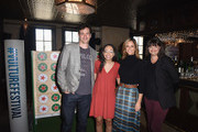 (L-R) Tom Everett Scott, Hunter Harris, Andrea Savage and Joey Slamon attend the Heineken Green Room during Vulture Festival Presented by AT&T at Hollywood Roosevelt Hotel on November 18, 2018 in Hollywood, California.